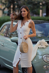bag,dress,midi dress,white dress