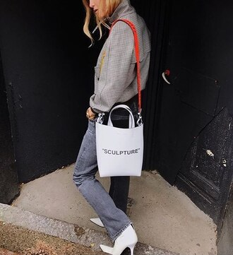 jacket grey jacket handbag white handbag bag
