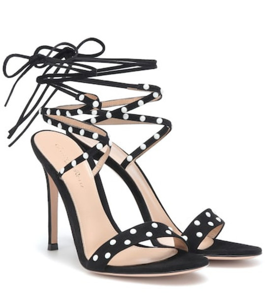 Gianvito Rossi Embellished suede sandals in black
