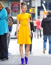 dress,zendaya,zendaya style,yellow,yellow dress,belt dress,sunshine dress,zendaya's dress,yellow zendaya