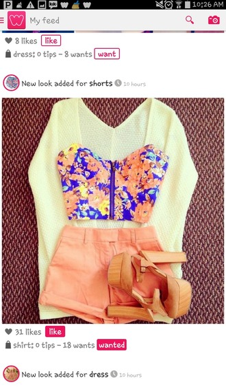 shirt flower shirt crop tops zip-up shorts high waisted shorts high-heels shoes heels with straps