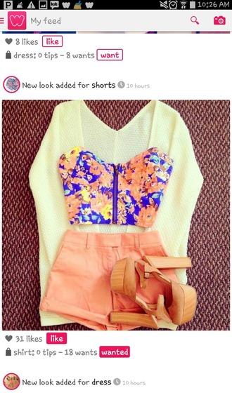shirt flower shirt crop tops zip-up shorts high waisted shorts high heels heels with straps