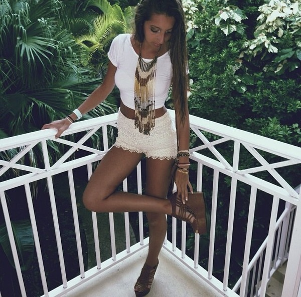 shorts white lace jewels shoes