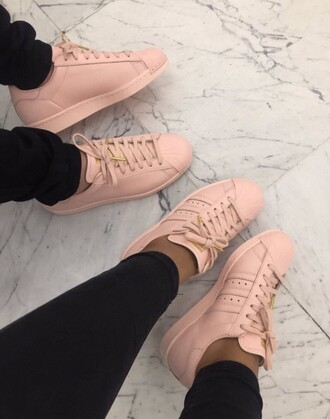 shoes leather shoes pink adidas superstars adidas shoes