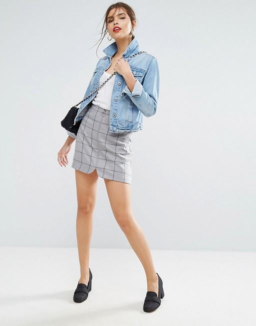 ASOS A Line Mini Skirt with Circle Zip Pull In Check at asos.com