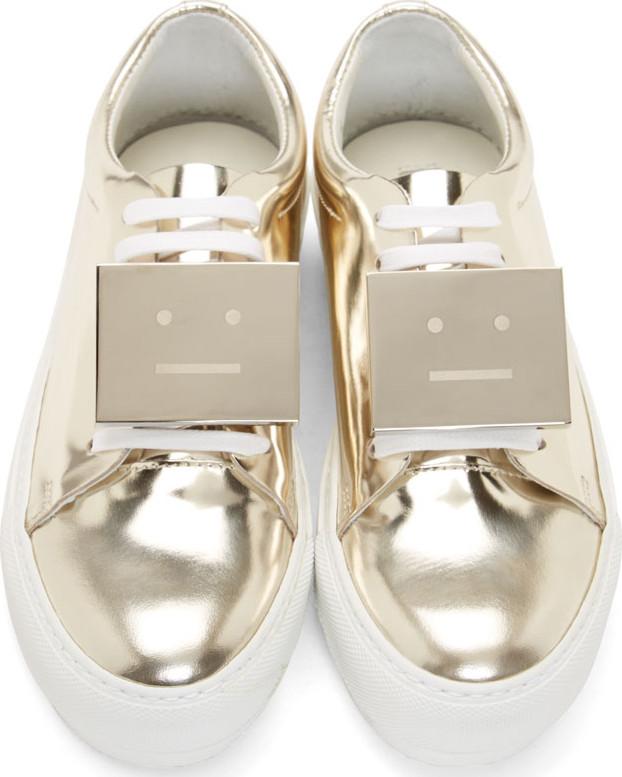 Acne Studios Gold Metallic Adriana Sneakers