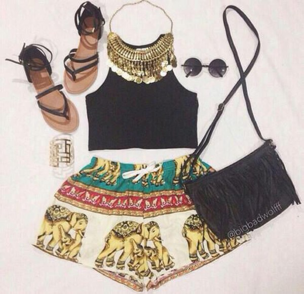 clothes jewels elephant shorts shirt shoes bag black bag cute bag top tank top elephant print set summer outfits etsy exotic summer boho aztec ethnic comfy flat sandals sunglasses black crop top elephant shorts