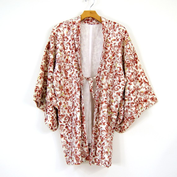 Cotton Kimono Jacket or Robe in Pink and Red by nickiefrye