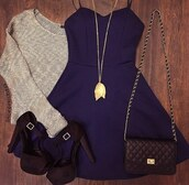 sweater,bag,heels,shoes,style,dress,jewels,hipster,black,black bag,fashion,purple dress,dress black and white shirt dress,navy dress,navy,grey sweater,blue dress,high,purple,heartbeat dress