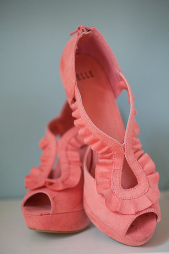 shoes high heels coral ruffle peep toe