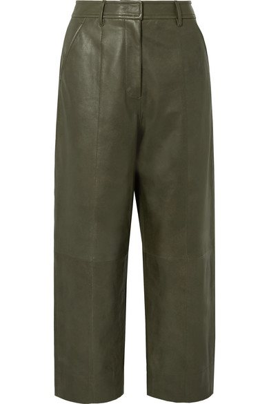 Fatigue Cropped Paneled Leather Straight-leg Pants