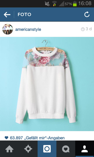 white pullover with flowers pink flowers