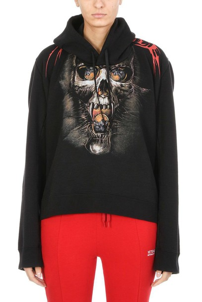 Vetements hoody skull goth print black sweater