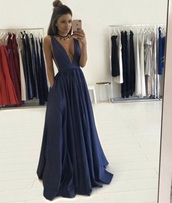 dress,prom,prom dress,plunge v neck,navy,navy dress,maxi,plunge dress,blue,ball gown dress,blue dress,fit and flare dress