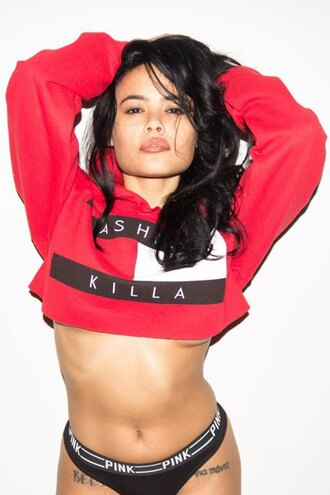 sweater crop sexy dope fashion killa tommy hilfiger cropped zaful chic hipster pink by victorias secret lingerie jacket