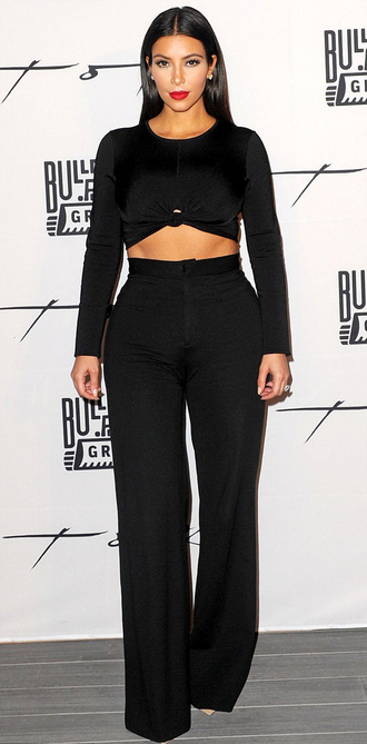 top pants shoes kim kardashian black kardashians crop tops black crop top wide-leg pants black pants