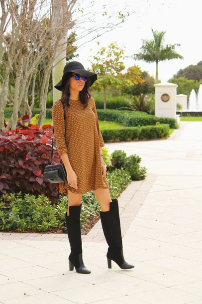 kqns style blogger rust felt hat shirt dress three-quarter sleeves black boots dress shoes sunglasses hat bag jewels