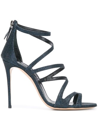 metallic strappy women sandals strappy sandals leather blue shoes