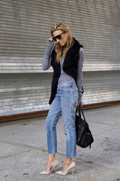 mind body swag blogger faux fur vest black fur vest fur vest black vest top grey top grey turtleneck top turtleneck denim jeans blue jeans bag black bag sunglasses black sunglasses pumps pointed toe pumps high heel pumps grey heels