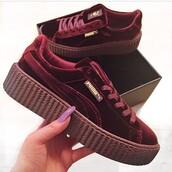 shoes,red velvet,puma,puma fenty,creepers