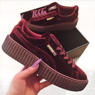 shoes red velvet puma puma fenty creepers