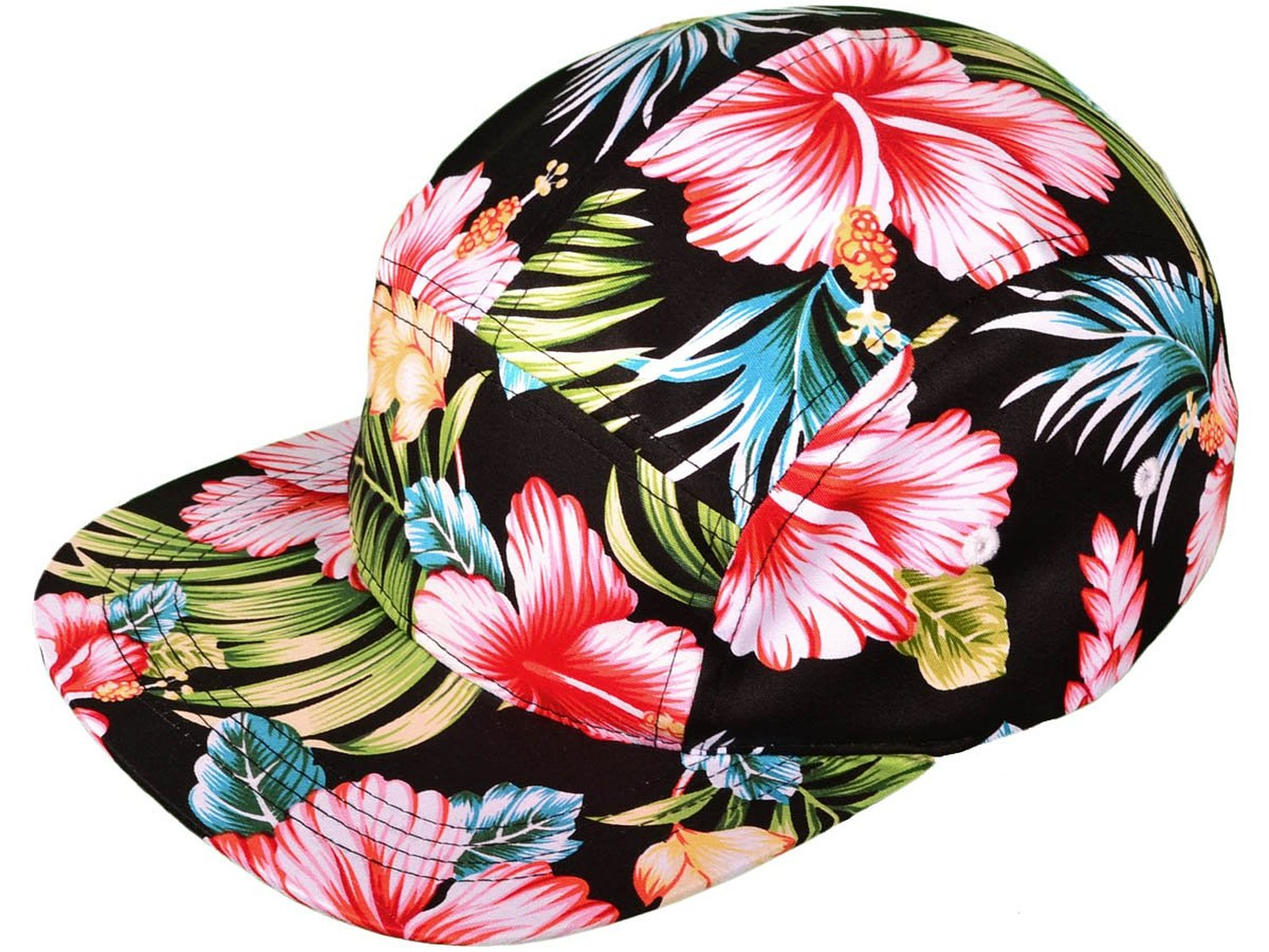 Amazon.com: cotton flat bill floral 5 panel hat with faux leather strapback