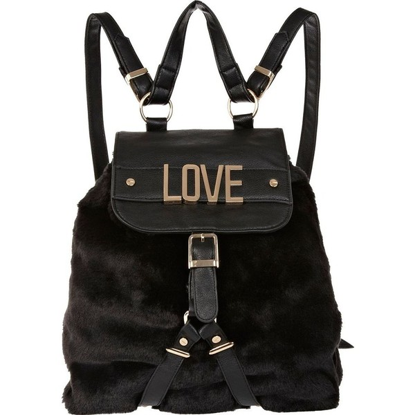 River Island Black faux fur love backpack - Polyvore