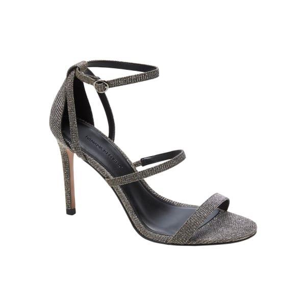 Banana Republic Women's Bare High-Heel Sandal Silver & Gold Mix Regular Size 5 1/2