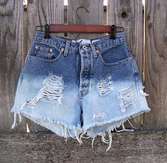 High waisted ombre shorts. Destroyed half bleached by GloriousMorn