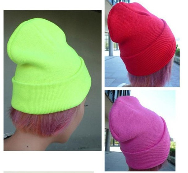 colorful hats beanie knit cap skull beany neon hats