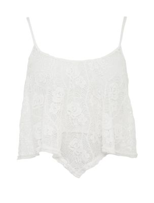 Cream floral lace swing crop top