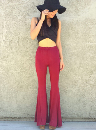 red pants pants red burgundy flare flare pants flared leg pants
