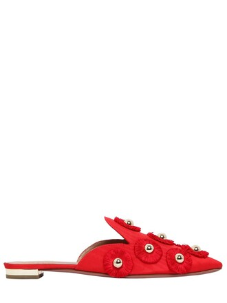 sunflower mules satin red shoes