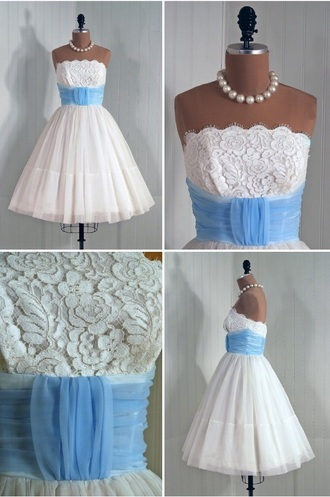 dress blue dress white dress 50s style