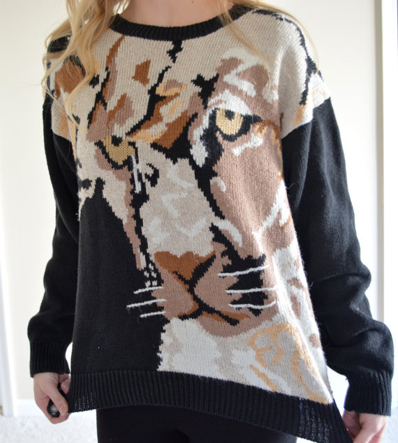 Vintage russ tiger sweater awesome black cat sweater medium med m hipster tumblr mountain lion jumper funky retro cat pullover funky fashion
