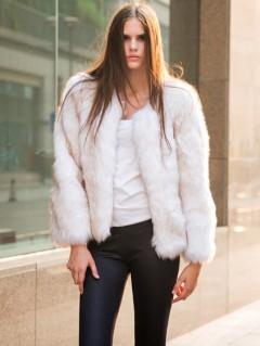 White faux fur warm coat