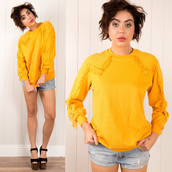 sweater,cowboy,vintage,vintage pullover,pullover,jumper,yellow,fringing