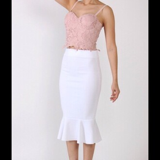 skirt trendyish ruffle midi all white everything pencil skirt bodycon sexy summer party instagram tumblr