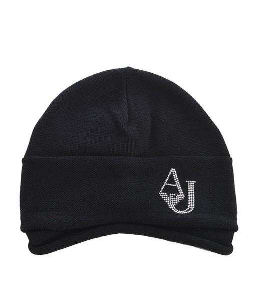 ARMANI JEANS draped beanie knitted beanie hat
