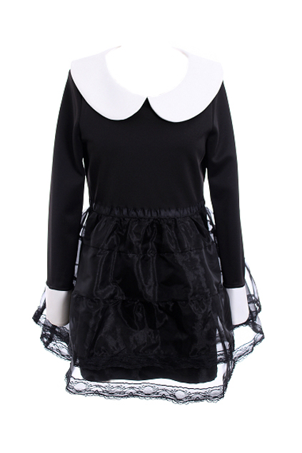 Overlay lace black puff shift dress [ncske0211]