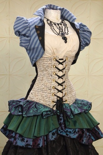 dress steampunk alice in wonderland skirt green purple