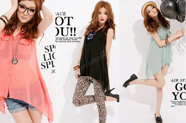 3 colors fashion lady irregular hem sleeveless see through chiffon blouse top