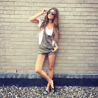 romper knot sisters overalls army green shorts revolve clothing revolve revolveme