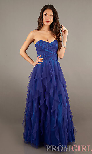 Strapless Blue Evening Gowns, LA Glo Strapless Dresses- PromGirl