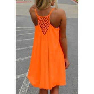 dress orange summer fashion tan style cool clothes rose wholesale-feb neon