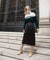 shoes,boots,mid heel boots,midi skirt,leather skirt,high waisted skirt,sweater