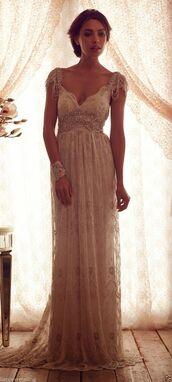 dress,maxi lace dress,gown,sleeve,elegant,lace dress,maxi dress,prom dress,glamour,style,beige,long dress,details,white,white vintage