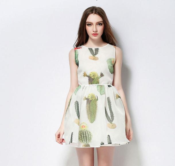 ef05bfaa6815 dress ss16 shanghaitrends cactus print printed dress boho boho chic boho  dress skater dress summer summer