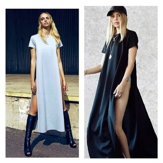 t-shirt tshirt dress splits maxi top maxi t shirt simple minimalist dress slit slit slit dress loose fit