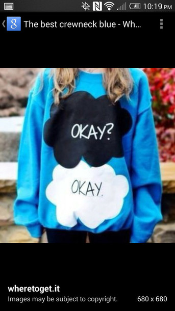 sweater blue the fault in our stars the fault in our stars the fault in our stars sweatshirt augustuswaters john green